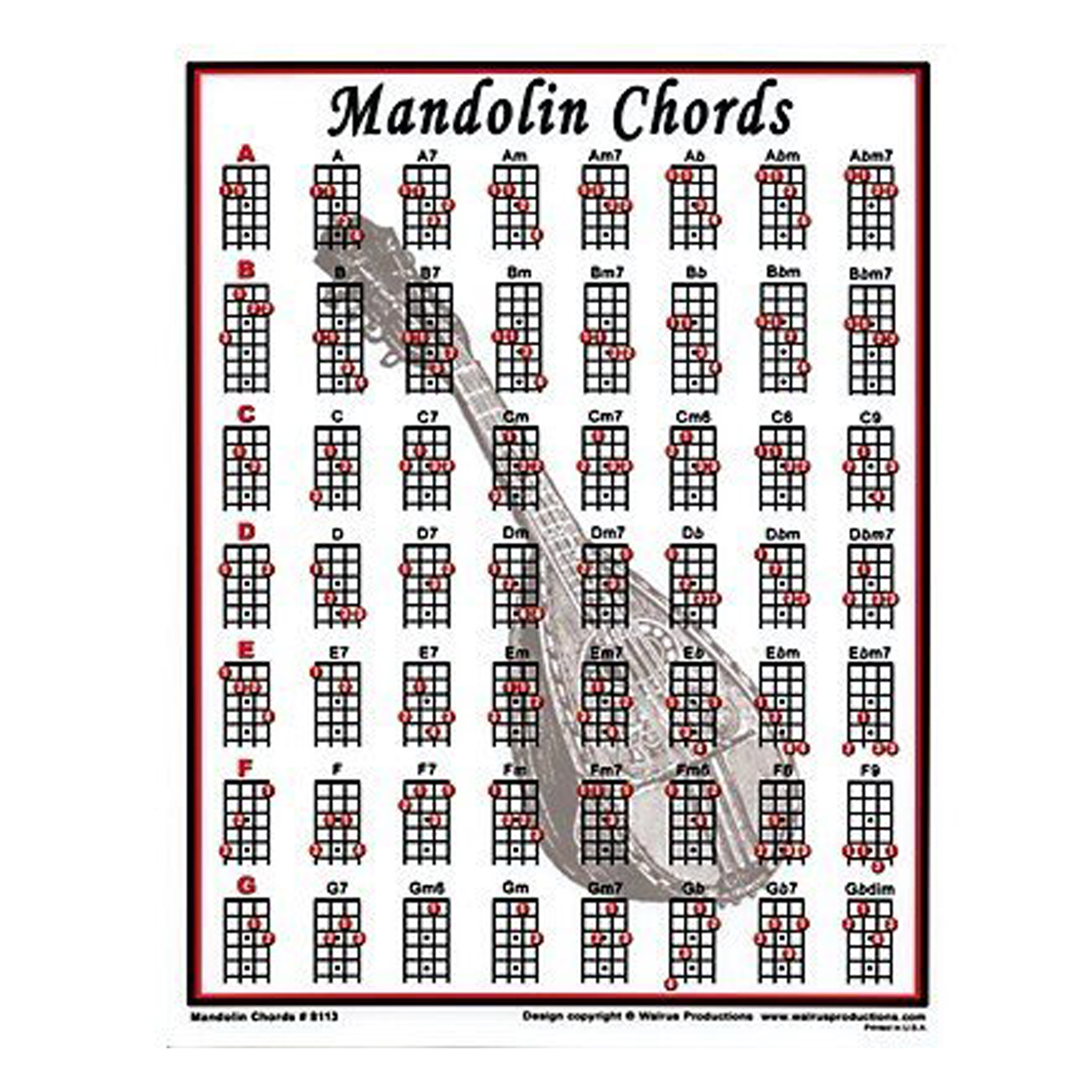 Walrus Productions Mandolin Chord Mini Chart 755798123478 Ebay A7 Diagram