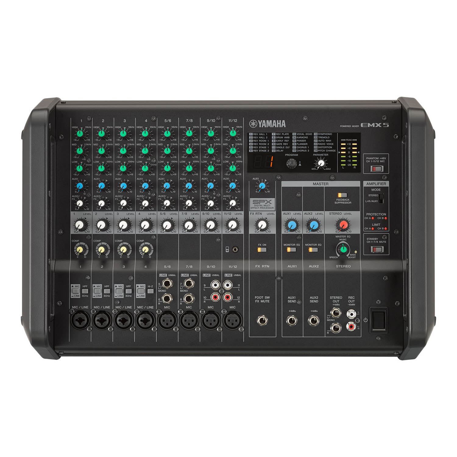 Yamaha Emx5 12 Input Stereo Powered Mixer Dsp Effects Mgp24x