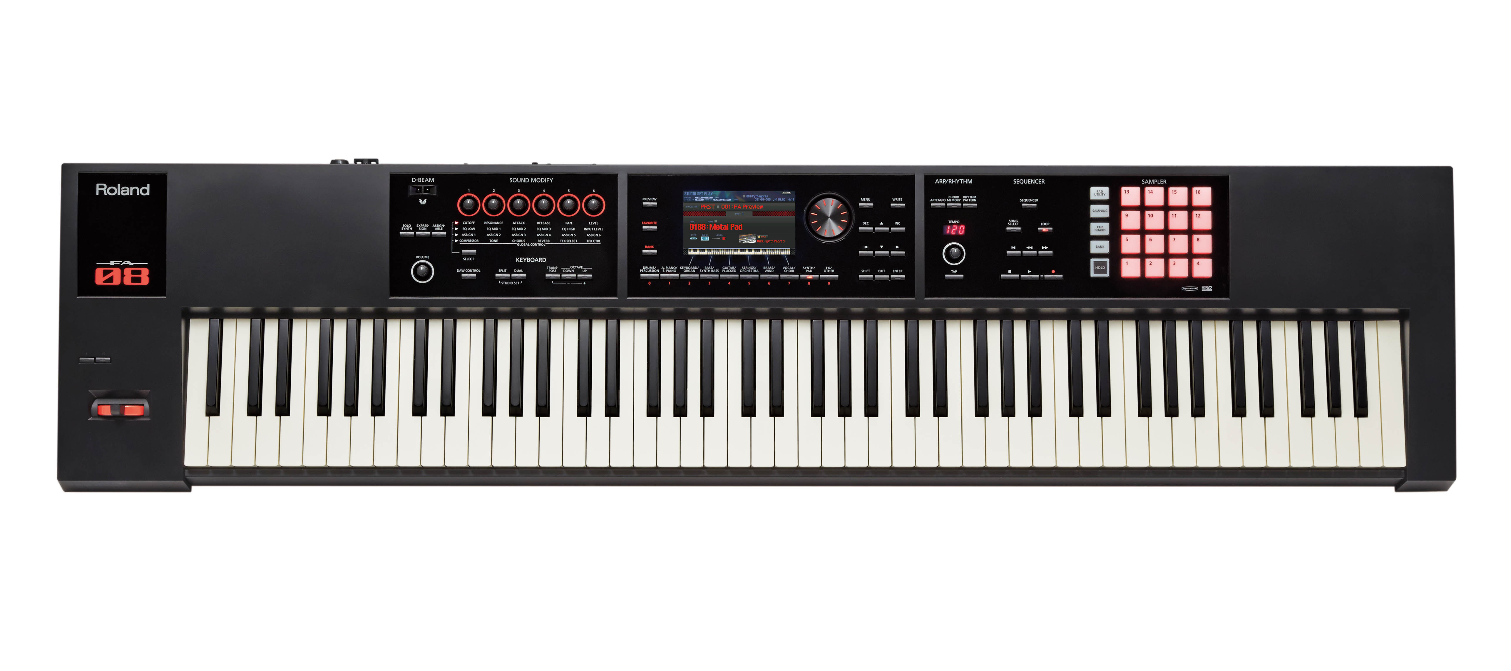 roland fa 08 88 key synthesizer workstation with weighted keys 761294504345 ebay. Black Bedroom Furniture Sets. Home Design Ideas