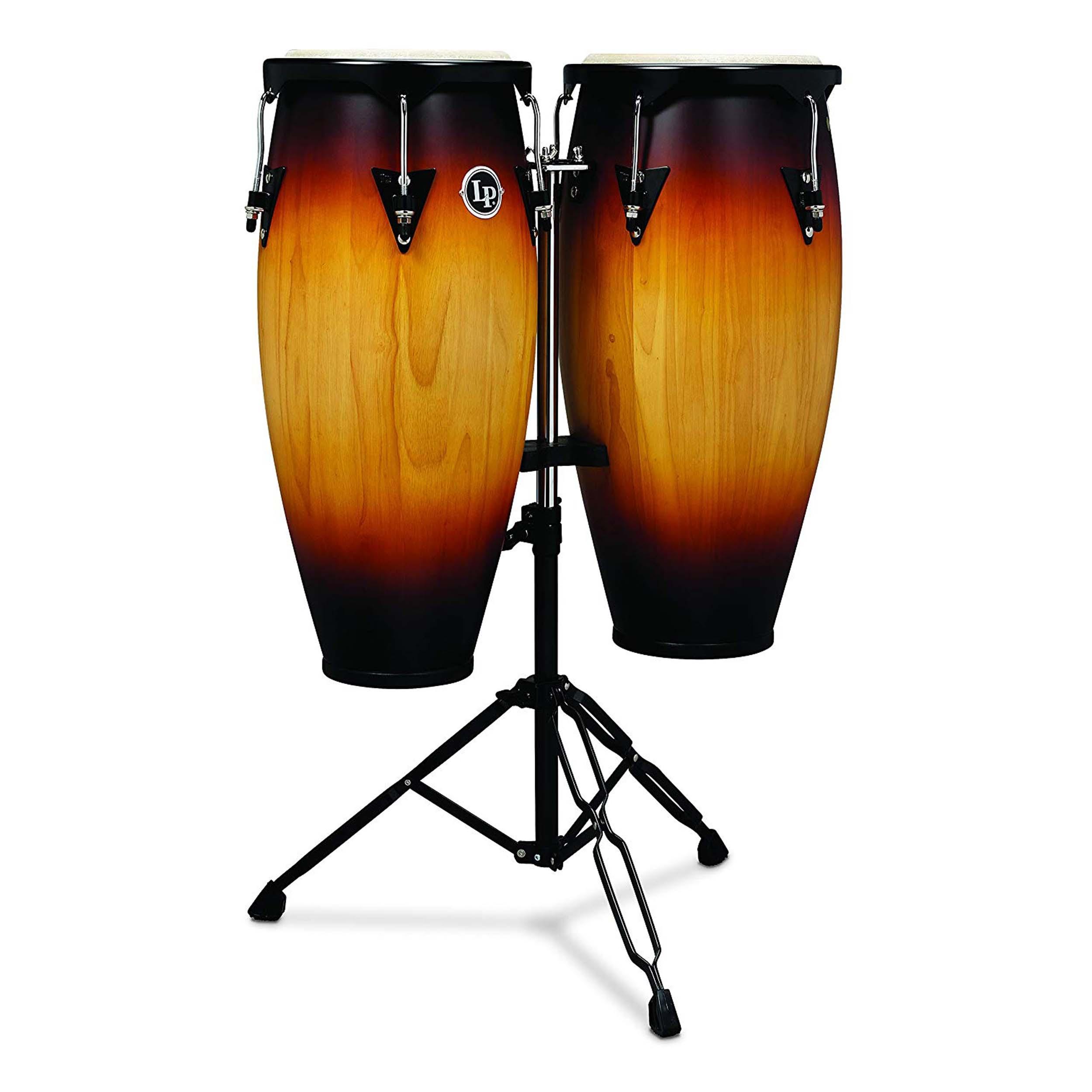 latin percussion lp city wood congas 10 11 set vintage sunburst ebay. Black Bedroom Furniture Sets. Home Design Ideas