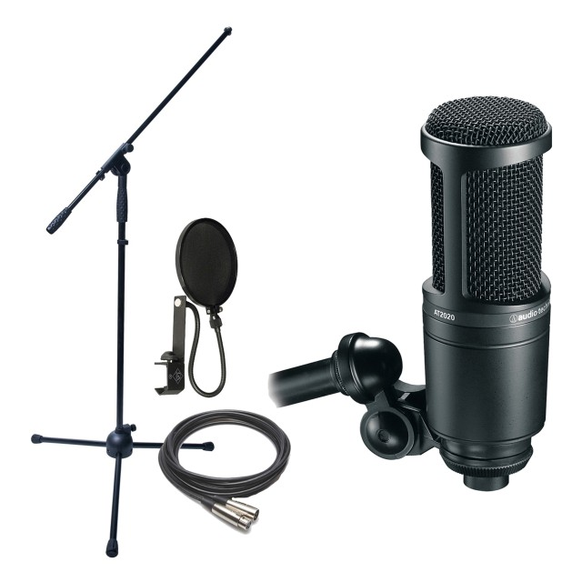 audio technica at2020 cardioid condenser mic w stand c. Black Bedroom Furniture Sets. Home Design Ideas