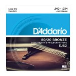 D'Addario EJ62 80/20 Light Gauge Bronze Mandolin Strings - 10-34