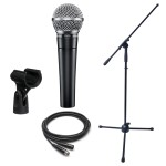 Dynamic Microphone Bundle- Shure SM58 Boom Stand and XLR Cable
