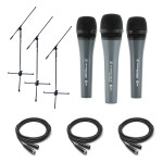 3 Sennheiser E835 Microphones w/ 3 Buhne Boom Stands and 3 Hosa Microphone Cables