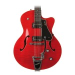 Godin 5th Avenue Uptown in Trans Red Flame Top w/ Case