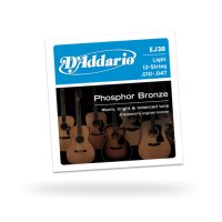 D'Addario EJ38 12-String Phosphor Bronze Light Acoustic Guitar St