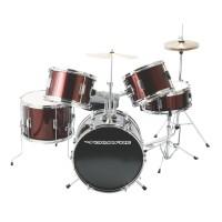 DrumFire DKJ5500-WR 5-Piece Junior Drumset in Metallic Wine Red