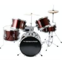 DrumFire DK7500-WR 5-Piece Drumset in Metallic Wine Red Finish
