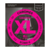 D'Addario Chromes XL Flatwound Long Scale Bass Strings - Light Gauge 5 String