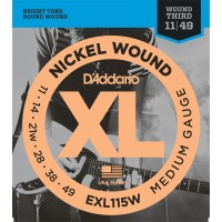 D'Addario EXL115W Set Blues/Jazz Rock Wound 3rd 11-49 Single Set