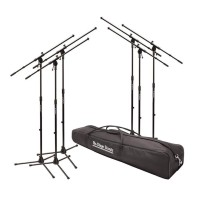On-Stage MSP7706 6 Euroboom Mic Stands Value Bundle W/Bag