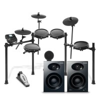 Alesis Nitro Mesh Kit with Pair of Alesis Elevate 4 Desktop Speakers Bundle