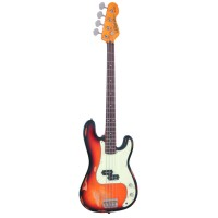 Vintage Icon V4MRSSB P-BASS-Style 4 String Bass In Distressed 3 Tone Sunburst