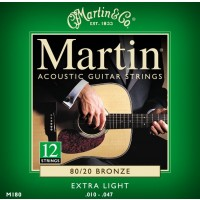 Martin M180 Extra Light 12-String Acoustic Guitar Strings