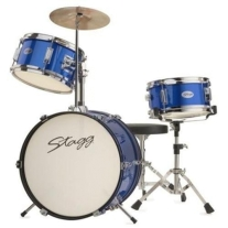 "Stagg 3-Piece Junior Drum Set - 12"" with Hardware - Blue"