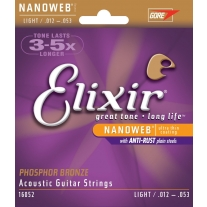 Elixir Strings Phosphor Bronze Acoustic Guitar Strings W NANOWEB Coating