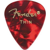 Fender 351 Premium Guitar Picks - Thin Red Moto - 12-Pack