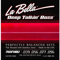 La Bella 760FHB2 Beatle Bass Flatwound Bass Strings - Light