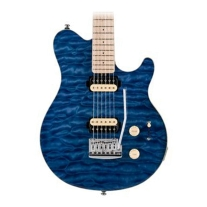 Sterling By Music Man Sub AX3 Axis Electric Guitar in Transparent Blue
