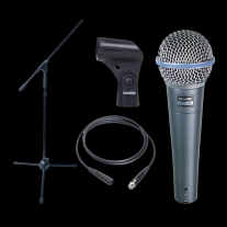Dynamic Microphone Bundle - Shure Beta58 Boom Stand and XLR Cable