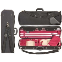 HOWARD CORE 4/4 VIOLIN SUSPENSION CASE IN A BLACK EXTERIOR & RED INTERIOR.