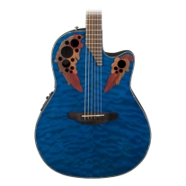 Ovation CE44p8TQ Celebrity Mid Depth Elite Acoustic Electric Guitar, Blue Gloss