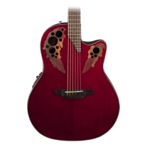 Ovation CE44RR Celebrity Elite Mid Depth Acoustic Electric Guitar, Ruby Red