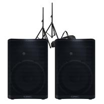 QSC CP12 Powered Loudspeaker Pair Bundle