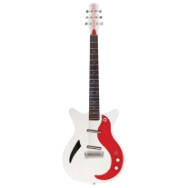 Danelectro DM59M Spruce Electric Guitar in White Pearl and Red