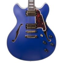 D'Angelico Deluxe DC Matte Royal True Blue Semi-Acoustic Guitar w/ Case