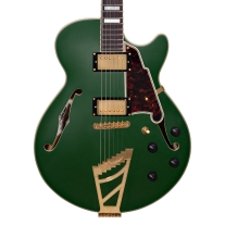 D'Angelico Deluxe SS Matte Emerald Green Semi-Hollow Guitar w/ Case