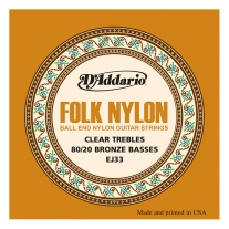 D'Addario EJ33 Folk Nylon 80/20 Bronze/Ball End Clear Treble