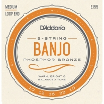 D'Addario EJ55 Phosphor Bronze 5-String Banjo Strings, Medium, 10-23