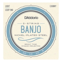 D'Addario EJ60NY 5-String Banjo Strings, NY Steel, Light 9-20