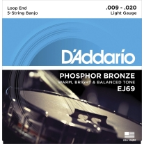 D'Addario EJ69 Phosphor Bronze 5-String Banjo Strings, Light, 9-20