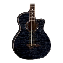 Dean Exotica Quilt Ash Acoustic/ Electric Bass Transparent Black Finish