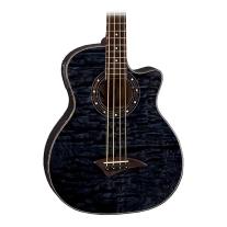 Dean Exotica Quilt Ash Acoustic/ Electric Bass Transparent Black Finish