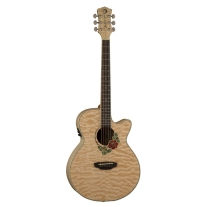 Luna Flora Series Rose Quilted Maple Cutaway Acoustic-Electric Guitar - Natural