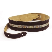 """Franklin FSSCHSW 2.5"""" Chocolate Colored Suede Leather Southwest Guitar Strap"""