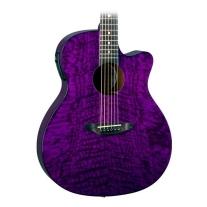 Luna Guitars Gypsy Grand Concert Acoustic-Electric Guitar Transparent Purple