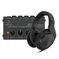 Behringer Micro Amp HA400 & Sennheiser HD200PRO Headphones Bundle
