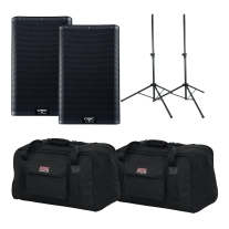 "QSC K10.2 10"" Two Way 2000W Powered Loudspeaker Pair Bundle"
