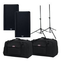 "QSC K12.2 12"" Two Way 2000W Powered Loudspeaker Pair Bundle"