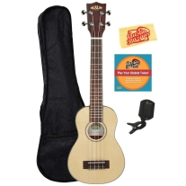 Kala KA-SSLNG Solid Spruce Top Soprano Long Neck Ukulele Bundle