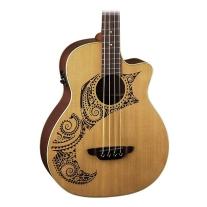 Luna LAB34TATCDR Tattoo Etched Cedar Top Grand Auditorium Acoustic Bass