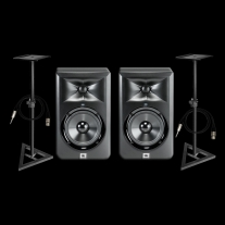 "JBL LSR305 5"" Powered Two-Way Studio Monitor Pair w/ Stands & Cables"