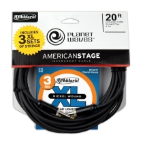 Planet Waves 20' American Stage Guitar Cable with Free D'Addario XL Light 3-Pack