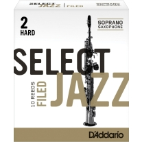 Rico Select Jazz Soprano Sax Reeds, Filed, Strength 2 Strength Hard, 10-Pack
