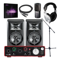 Focusrite Scarlett 2i2 (2nd Gen), JBL LSR305, and Pro Tools Subscription Bundle