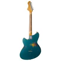 Novo Serus T Electric Guitar Ocean Turquoise Over 3 Tone Burst Medium Distress